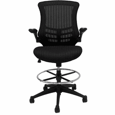 "Sleek Flip Up Arm Mesh Drafting Stool w/22""-29"" Seat Height"