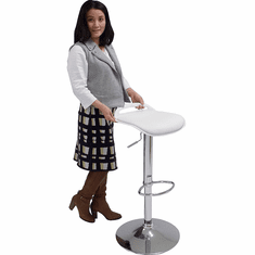 "White Adjustable Height Stool w/ 25""-33"" Seat Height"
