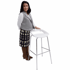 "White Bar Stool with 4 Post Legs -  29-1/2"" Seat Height"