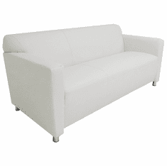 White Leather 3-Seater
