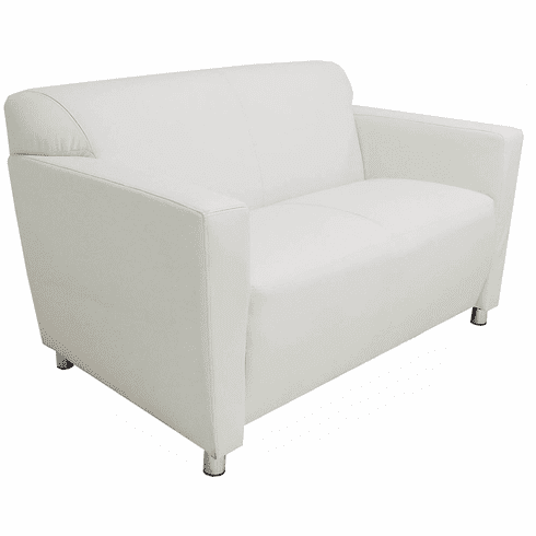 White Leather Lobby Seating Series - White Leather 2-Seater