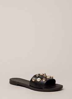 06cc33418df5 Lucky Lady Studded Faux Pearl Sandals BLACK (You Saved  8)