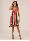 Color Wheel Striped Bow-Front Dress