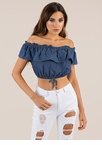 Ruffle Me Up Off-Shoulder Chambray Top