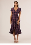 Plaid Princess Ruffled Wrap Dress