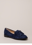 Bow-Getter Fringed Faux Suede Loafers