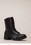 Fired Up Faux Leather Combat Boots