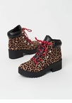 Lace Up In Leopard Block Heel Boots