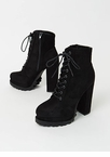 It's True Lug Chunky Faux Suede Booties
