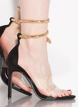 Snake Attack Coiled Clear Strap Heels