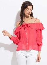 Sweetie Ruffled Cold-Shoulder Blouse