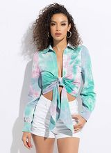 Tie-Dye Confection Tied Cropped Blouse