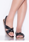 Knot Staying Home Faux Leather Sandals