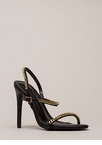 Let's Link Up Chain Trim Strappy Heels