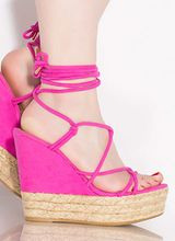 New Girl Lace-Up Braided Platform Wedges