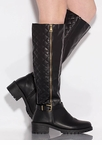 Plead Quilty Stitched Knee-High Boots