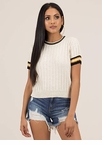 Preppy Life Ribbed Striped Trim Top