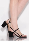 Strappy And Chunky Faux Nubuck Heels