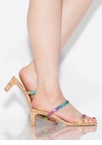 The Low-Down Strappy Jeweled Cork Heels