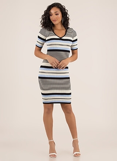 aaaafbe2e107 Thru Thick And Thin Striped Knit Dress BLACKMULTI (You Saved  27)
