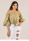 Plaid News Puffy Off-Shoulder Top