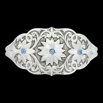 Antiqued Bitterroot Blue Flower Barrette