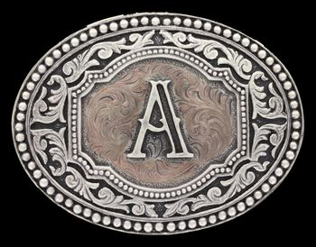 Initial A Two Tone Cameo Attitude Buckle (A518A)