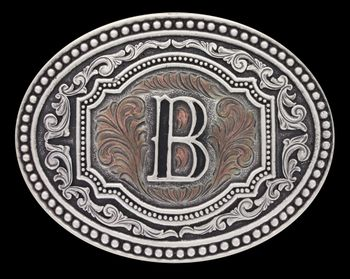Initial B Two Tone Cameo Attitude Buckle (A518B)