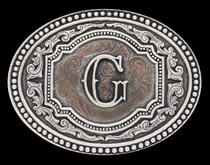 Initial G Two Tone Cameo Attitude Buckle (A518G)