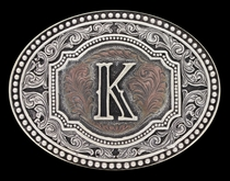 Initial K Two Tone Cameo Attitude Buckle (A518K)