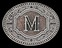 Initial M Two Tone Cameo Attitude Buckle (A518M)