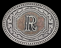 Initial R Two Tone Cameo Attitude Buckle (A518R)