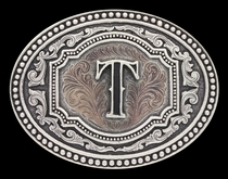 Initial T Two Tone Cameo Attitude Buckle (A518T)