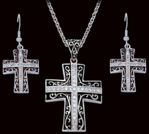 Rhinestone Cross set in Antiqued Filigree Jewelry Set (JS1185)