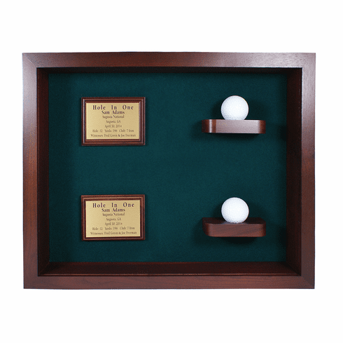 2 Holes in One Shadow Box Display-Cherry