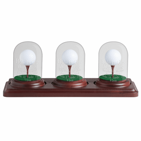 3 Holes in One Glass Dome Display