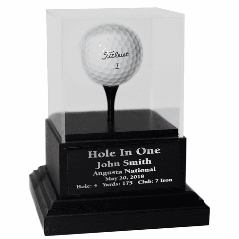 Acrylic Hole In One Display with Black Wood Base