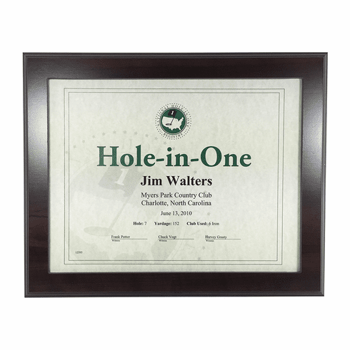 Cherry Hole-In-One Certificate Frame