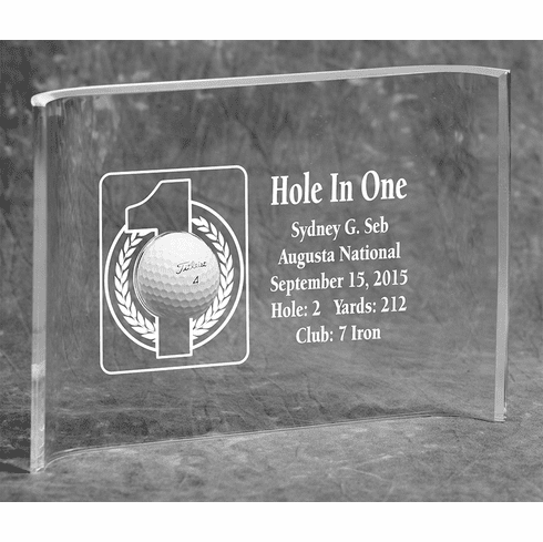 Hole-In-One 7x10 Acrylic Crescent Award
