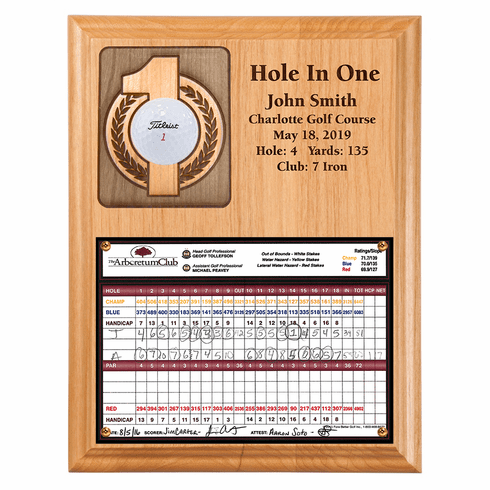 Hole In One Ball and Scorecard Plaque