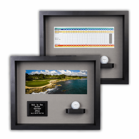 Hole-In-One Ball & Photo/Scorecard Shadow Box - Black