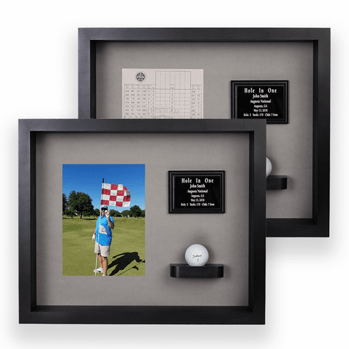 Hole In One Ball & Vertical Photo/Scorecard Shadow Box - Black