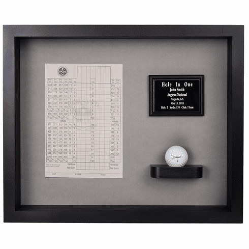 Hole In One Ball & Vertical Scorecard Shadow Box Display - Black