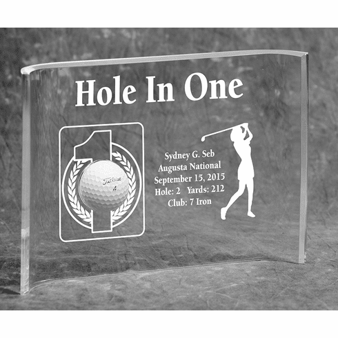 Hole-In-One Female 7x10 Acrylic Crescent Award