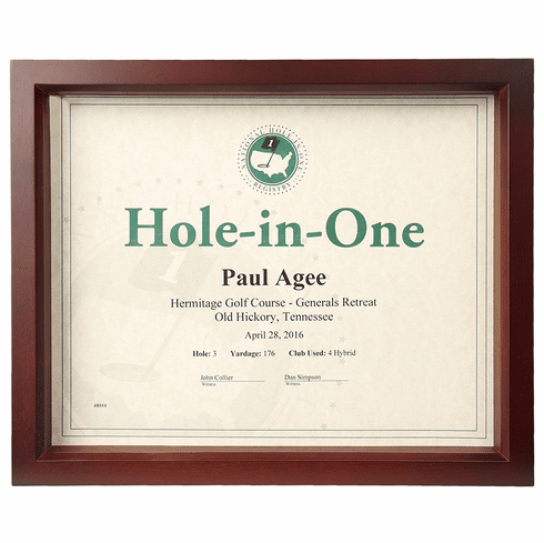 Hole-In-One Shadow Box Certificate Frame