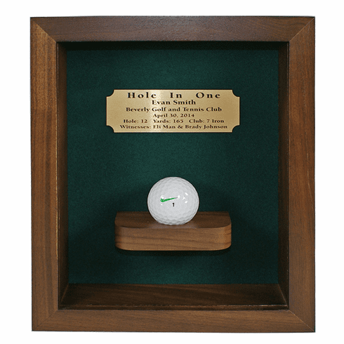 Hole-In-One Shadow Box with Ball Shelf-Walnut