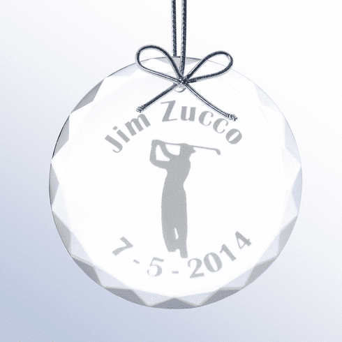 Personalized Glass Christmas Golf Ornament