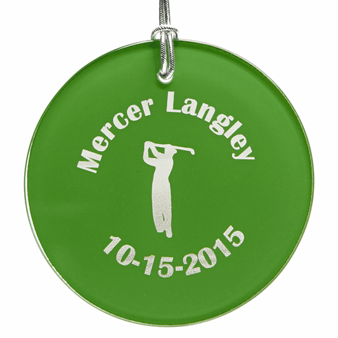 Personalized Green Glass Christmas Golf Ornament