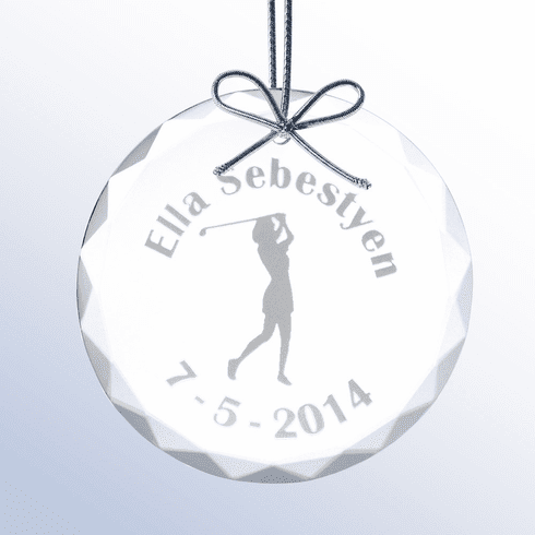 Personalized Ladies Glass Christmas Golf Ornament