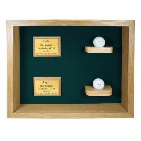 Two Balls and Plaques Shadow Box Display-Oak